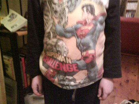 Lance definitely chose appropriate PJ's this evening-he is quite the Superman.